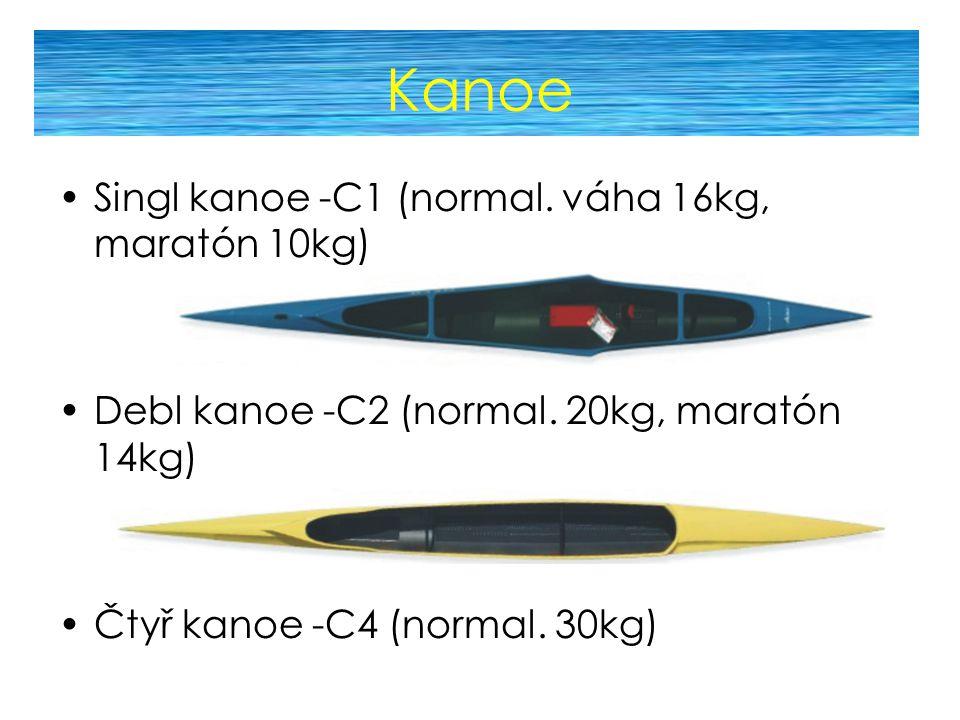 Kanoe Singl kanoe -C1 (normal. váha 16kg, maratón 10kg) Debl kanoe -C2 (normal. 20kg, maratón 14kg) Čtyř kanoe -C4 (normal. 30kg)