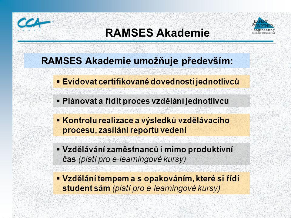 RAMSES Akademie  Evidovat certifikované dovednosti jednotlivců RAMSES Akademie umožňuje především:  Plánovat a řídit proces vzdělání jednotlivců  K