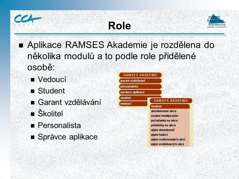 Role n Aplikace RAMSES Akademie je rozdělena do několika modulů a to podle role přidělené osobě: n Vedoucí n Student n Garant vzdělávání n Školitel n