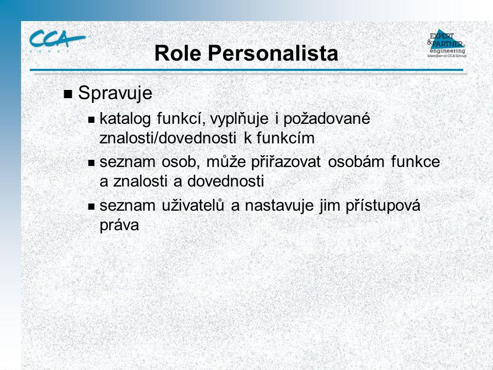 Role Personalista n Spravuje n katalog funkcí, vyplňuje i požadované znalosti/dovednosti k funkcím n seznam osob, může přiřazovat osobám funkce a znal