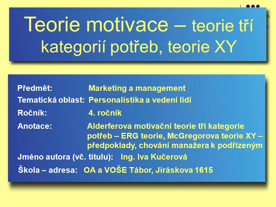 Teorie motivace – teorie tří kategorií potřeb, teorie XY Jméno autora (vč.