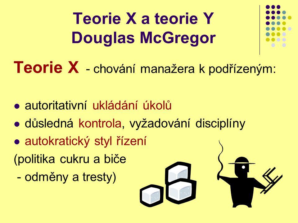 Teorie X a teorie Y Douglas McGregor Teorie Y vychází z předpokladů, že pracovník: má dobrý vztah k zaměstnání, rád pracuje je loajální k firmě chce se v práci seberealizovat chce mít zodpovědnost za své rozhodování