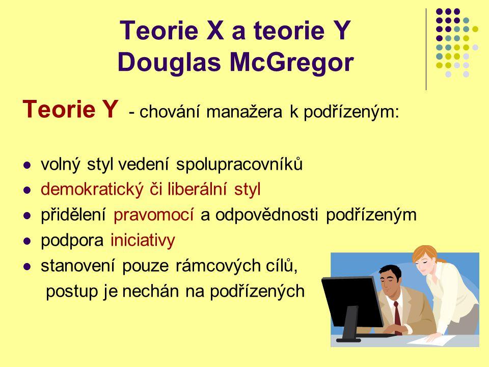 Teorie X a teorie Y Douglas McGregor Teorie Y - chování manažera k podřízeným: volný styl vedení spolupracovníků demokratický či liberální styl přidělení pravomocí a odpovědnosti podřízeným podpora iniciativy stanovení pouze rámcových cílů, postup je nechán na podřízených