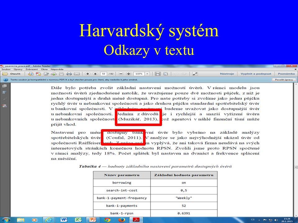 Harvardský systém Odkazy v textu