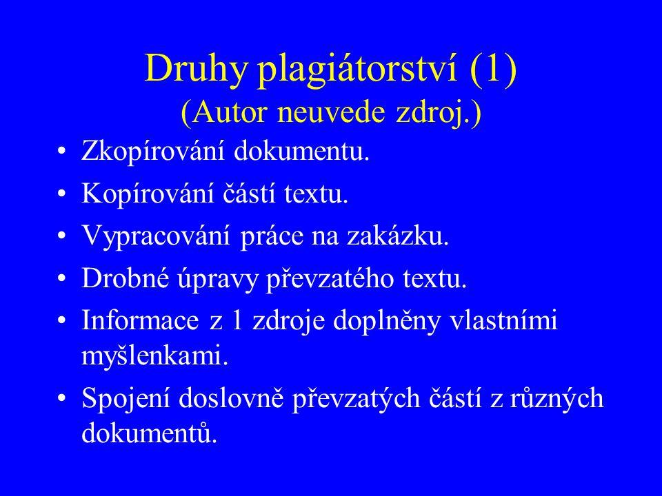 Druhy plagiátorství (1) (Autor neuvede zdroj.) Zkopírování dokumentu. Kopírování částí textu. Vypracování práce na zakázku. Drobné úpravy převzatého t