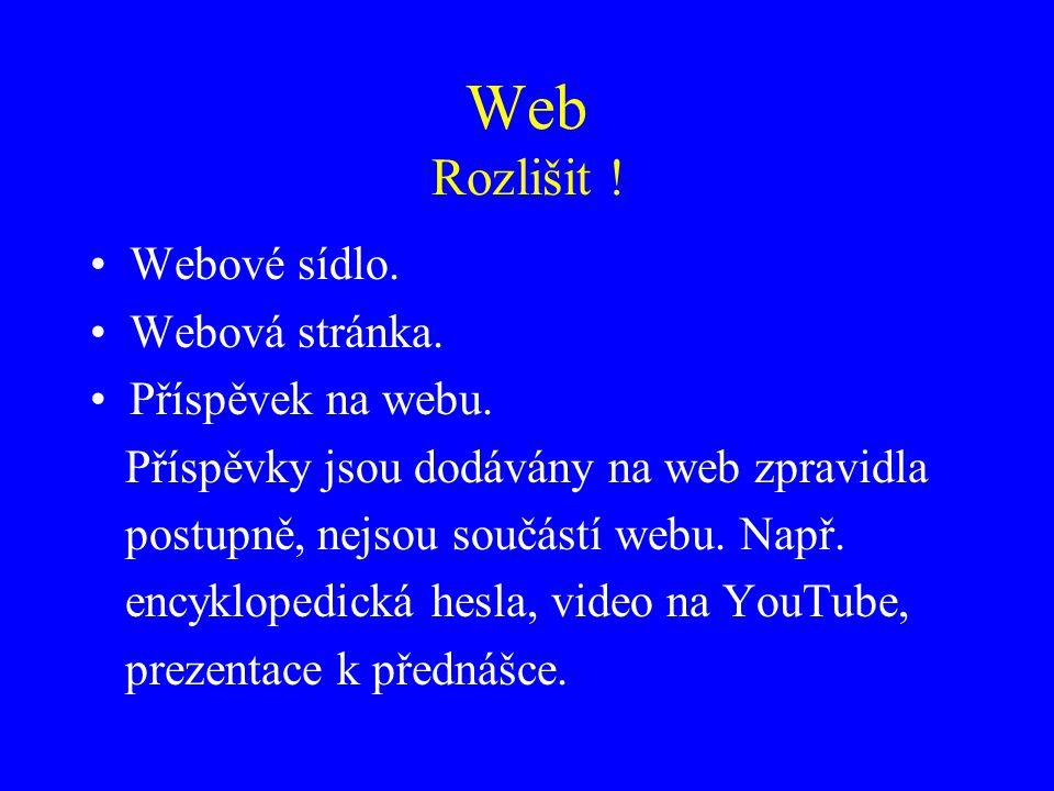 Web Rozlišit ! Webové sídlo. Webová stránka. Příspěvek na webu. Příspěvky jsou dodávány na web zpravidla postupně, nejsou součástí webu. Např. encyklo