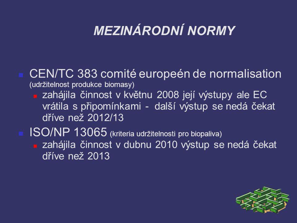 MEZINÁRODNÍ NORMY CEN/TC 383 comité europeén de normalisation (udržitelnost produkce biomasy) zahájila činnost v květnu 2008 její výstupy ale EC vráti