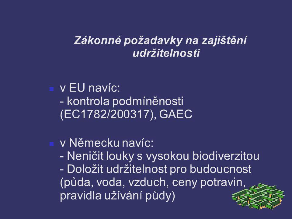 Zákonné požadavky na zajištění udržitelnosti v EU navíc: - kontrola podmíněnosti (EC1782/200317), GAEC v Německu navíc: - Neničit louky s vysokou biod