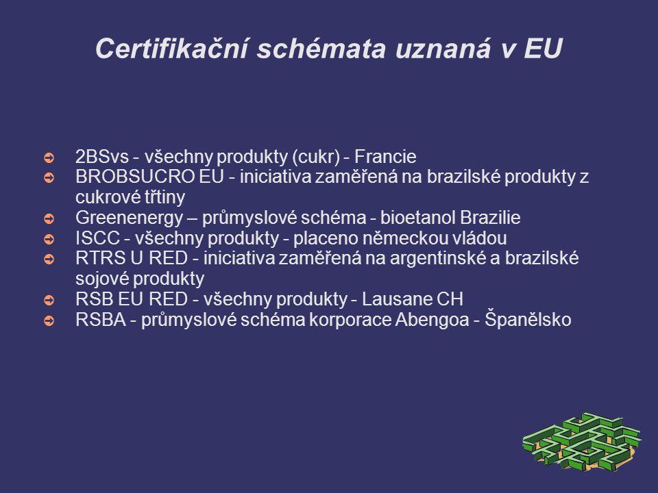 Certifikační schémata uznaná v EU ➲ 2BSvs - všechny produkty (cukr) - Francie ➲ BROBSUCRO EU - iniciativa zaměřená na brazilské produkty z cukrové třt