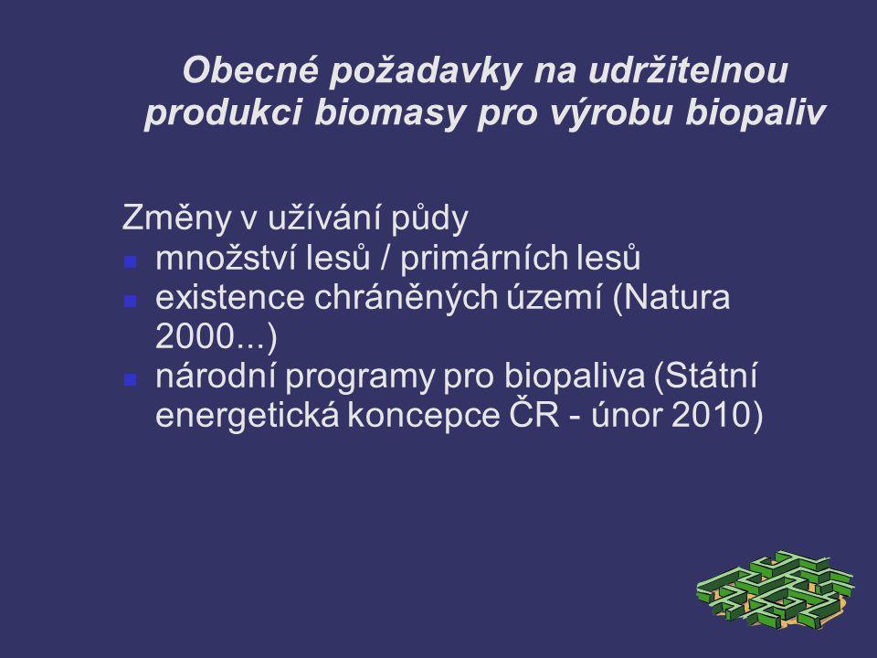 Obecné požadavky na udržitelnou produkci biomasy pro výrobu biopaliv Změny v užívání půdy množství lesů / primárních lesů existence chráněných území (