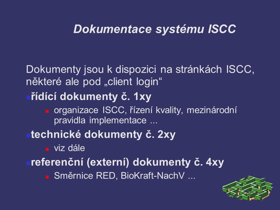 """Dokumentace systému ISCC Dokumenty jsou k dispozici na stránkách ISCC, některé ale pod """"client login"""" řídící dokumenty č. 1xy organizace ISCC, řízení"""