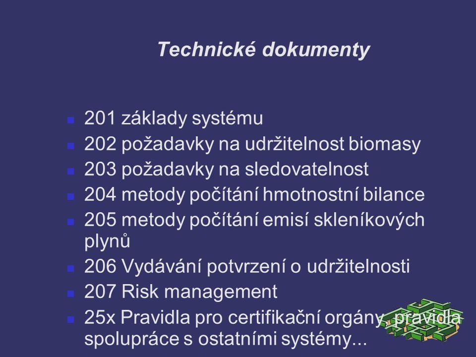 Technické dokumenty 201 základy systému 202 požadavky na udržitelnost biomasy 203 požadavky na sledovatelnost 204 metody počítání hmotnostní bilance 2