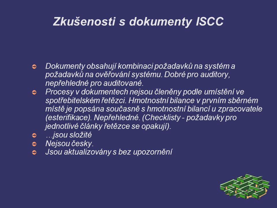 Zkušenosti s dokumenty ISCC ➲ Dokumenty obsahují kombinaci požadavků na systém a požadavků na ověřování systému. Dobré pro auditory, nepřehledné pro a