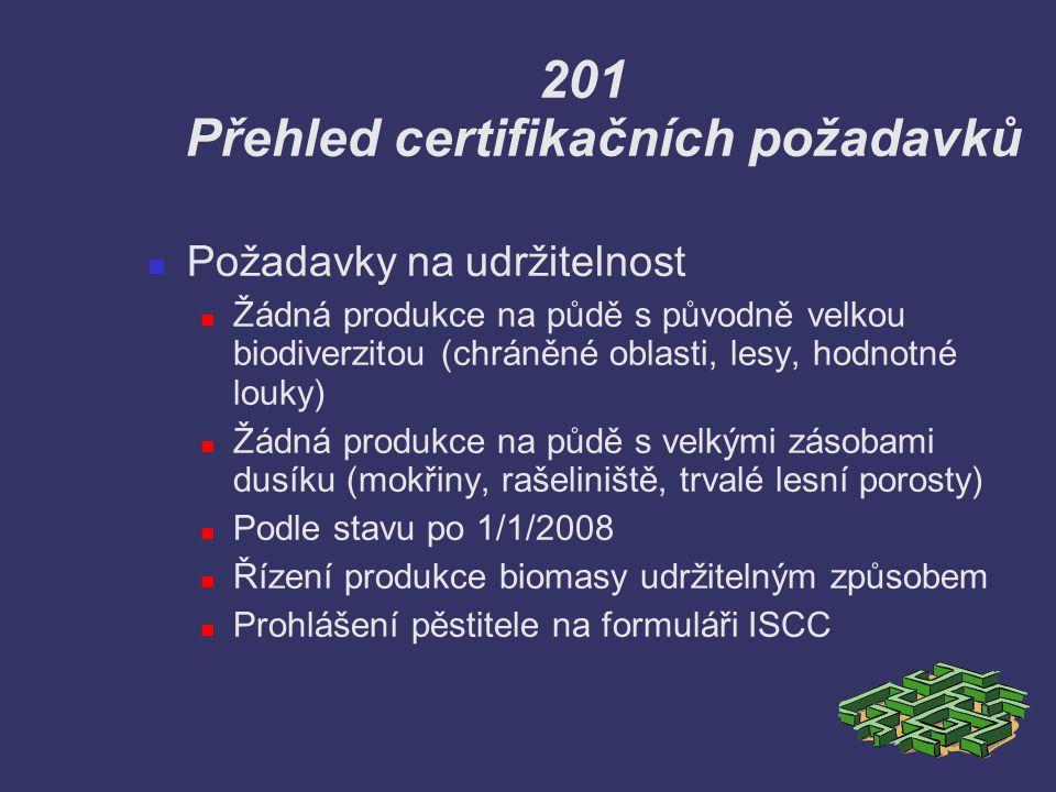 201 Přehled certifikačních požadavků Požadavky na udržitelnost Žádná produkce na půdě s původně velkou biodiverzitou (chráněné oblasti, lesy, hodnotné