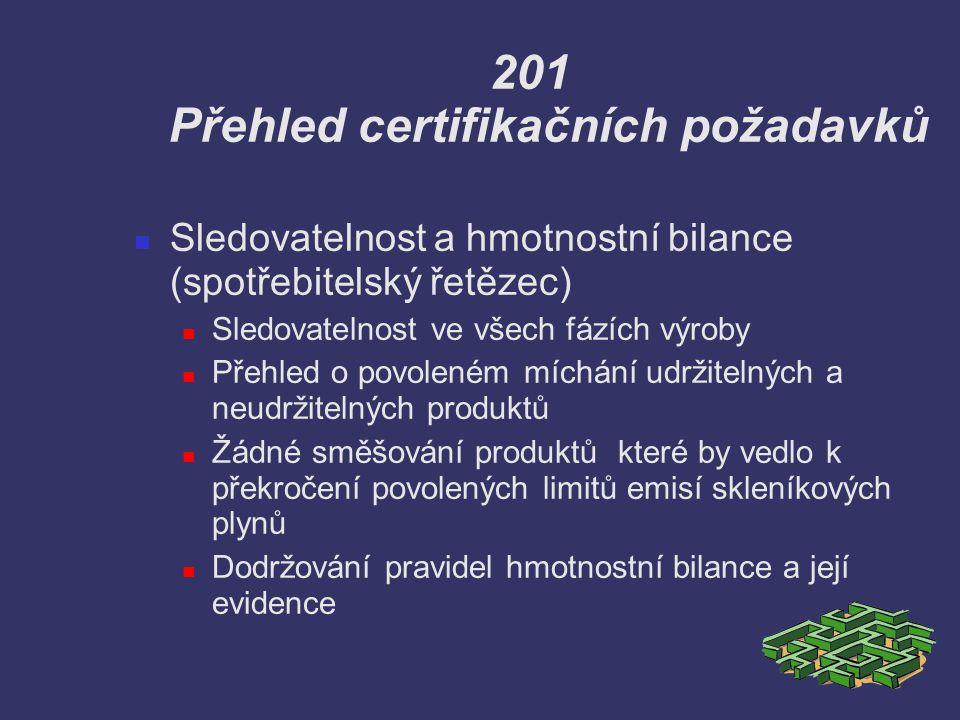 201 Přehled certifikačních požadavků Sledovatelnost a hmotnostní bilance (spotřebitelský řetězec) Sledovatelnost ve všech fázích výroby Přehled o povo