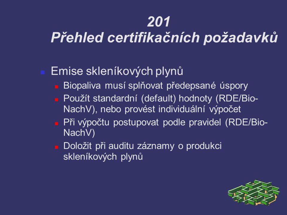 201 Přehled certifikačních požadavků Emise skleníkových plynů Biopaliva musí splňovat předepsané úspory Použít standardní (default) hodnoty (RDE/Bio-