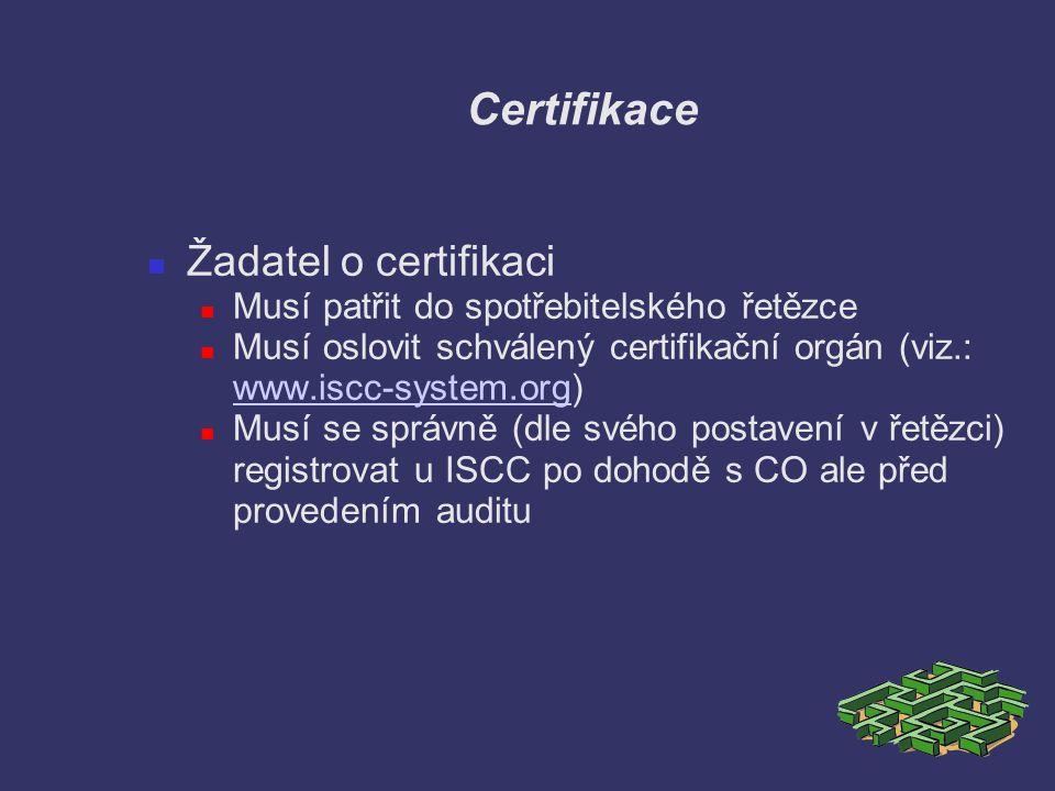 Certifikace Žadatel o certifikaci Musí patřit do spotřebitelského řetězce Musí oslovit schválený certifikační orgán (viz.: www.iscc-system.org) www.is