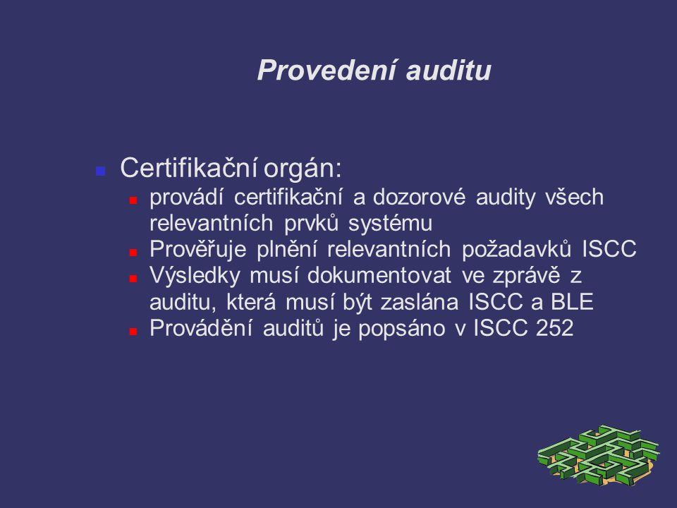 Provedení auditu Certifikační orgán: provádí certifikační a dozorové audity všech relevantních prvků systému Prověřuje plnění relevantních požadavků I