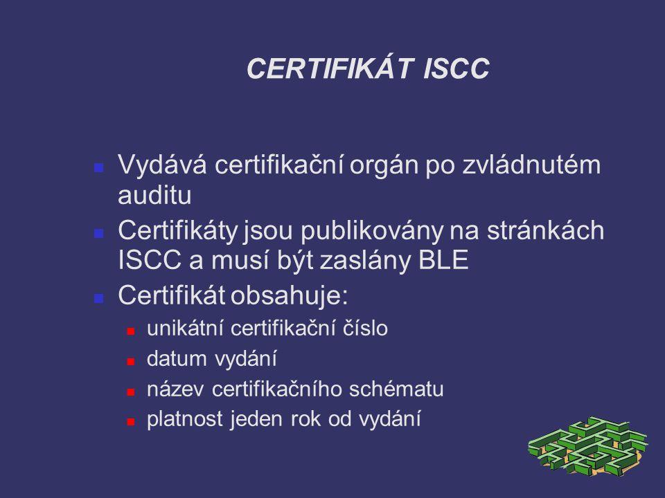 CERTIFIKÁT ISCC Vydává certifikační orgán po zvládnutém auditu Certifikáty jsou publikovány na stránkách ISCC a musí být zaslány BLE Certifikát obsahu