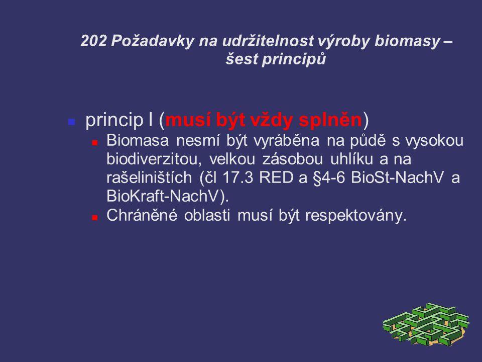 202 Požadavky na udržitelnost výroby biomasy – šest principů princip I (musí být vždy splněn) Biomasa nesmí být vyráběna na půdě s vysokou biodiverzit