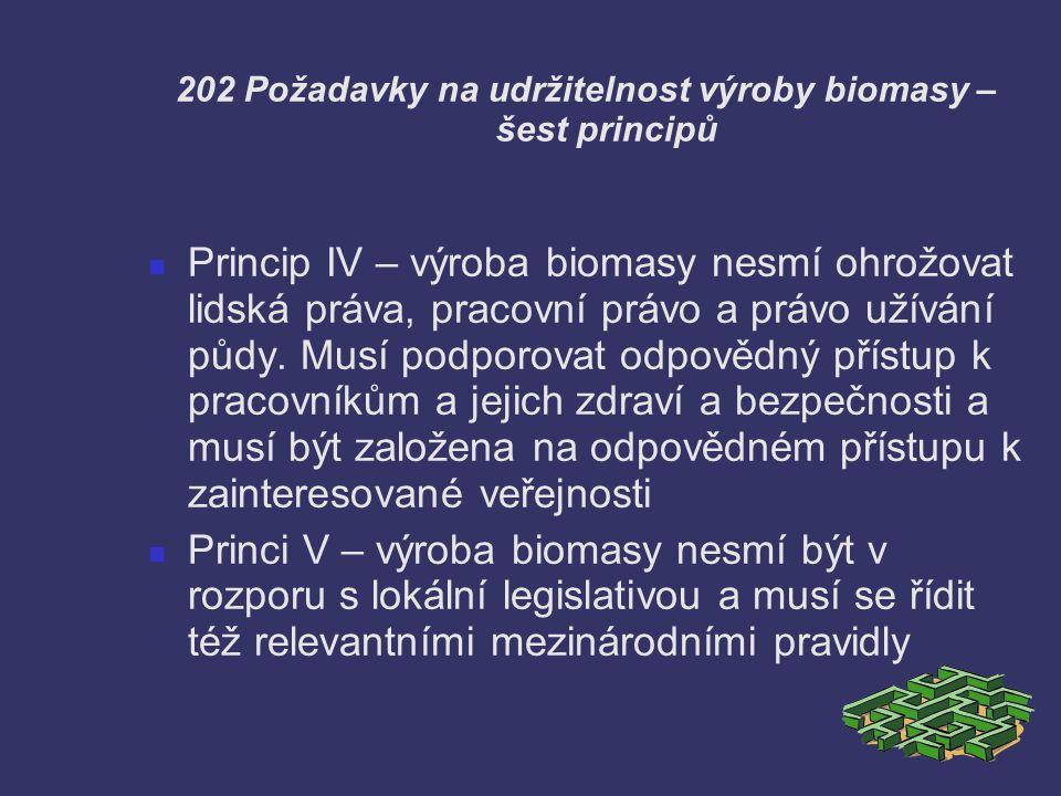 202 Požadavky na udržitelnost výroby biomasy – šest principů Princip IV – výroba biomasy nesmí ohrožovat lidská práva, pracovní právo a právo užívání