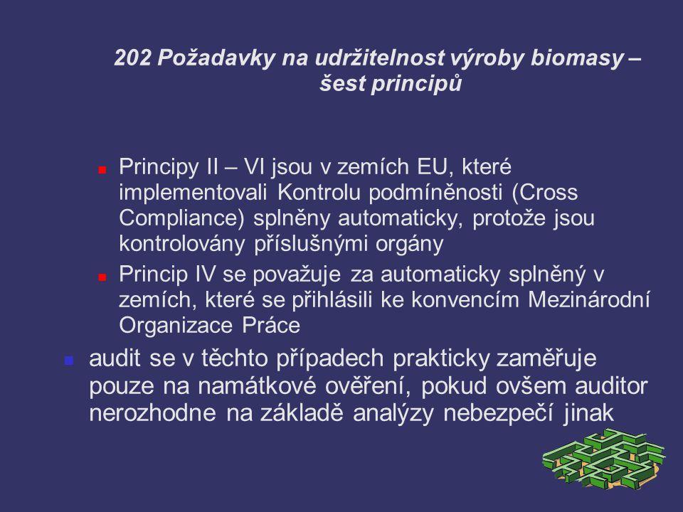 202 Požadavky na udržitelnost výroby biomasy – šest principů Principy II – VI jsou v zemích EU, které implementovali Kontrolu podmíněnosti (Cross Comp