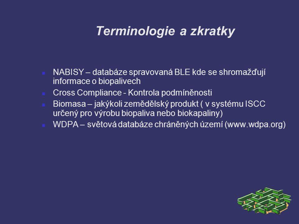 Terminologie a zkratky NABISY – databáze spravovaná BLE kde se shromažďují informace o biopalivech Cross Compliance - Kontrola podmíněnosti Biomasa –