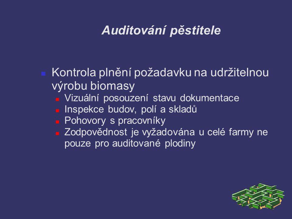 Auditování pěstitele Kontrola plnění požadavku na udržitelnou výrobu biomasy Vizuální posouzení stavu dokumentace Inspekce budov, polí a skladů Pohovo