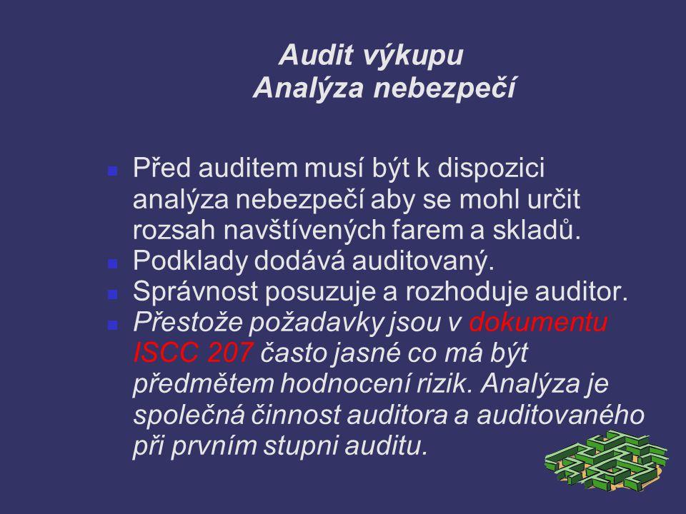 Audit výkupu Analýza nebezpečí Před auditem musí být k dispozici analýza nebezpečí aby se mohl určit rozsah navštívených farem a skladů. Podklady dodá