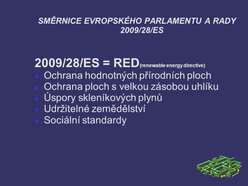 SMĚRNICE EVROPSKÉHO PARLAMENTU A RADY 2009/28/ES 2009/28/ES = RED (renewable energy directive) Ochrana hodnotných přírodních ploch Ochrana ploch s vel