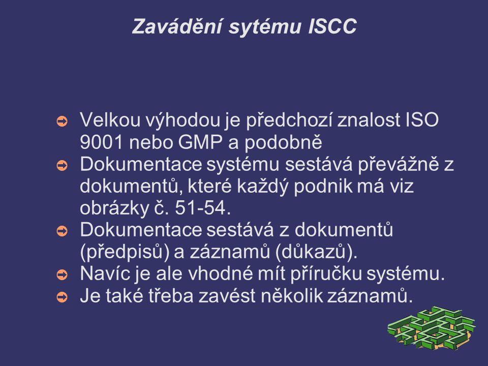 Zavádění sytému ISCC ➲ Velkou výhodou je předchozí znalost ISO 9001 nebo GMP a podobně ➲ Dokumentace systému sestává převážně z dokumentů, které každý