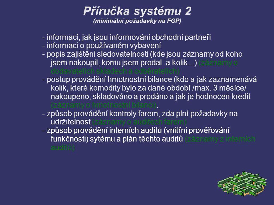 Příručka systému 2 (minimální požadavky na FGP) - informaci, jak jsou informováni obchodní partneři - informaci o používaném vybavení - popis zajištěn