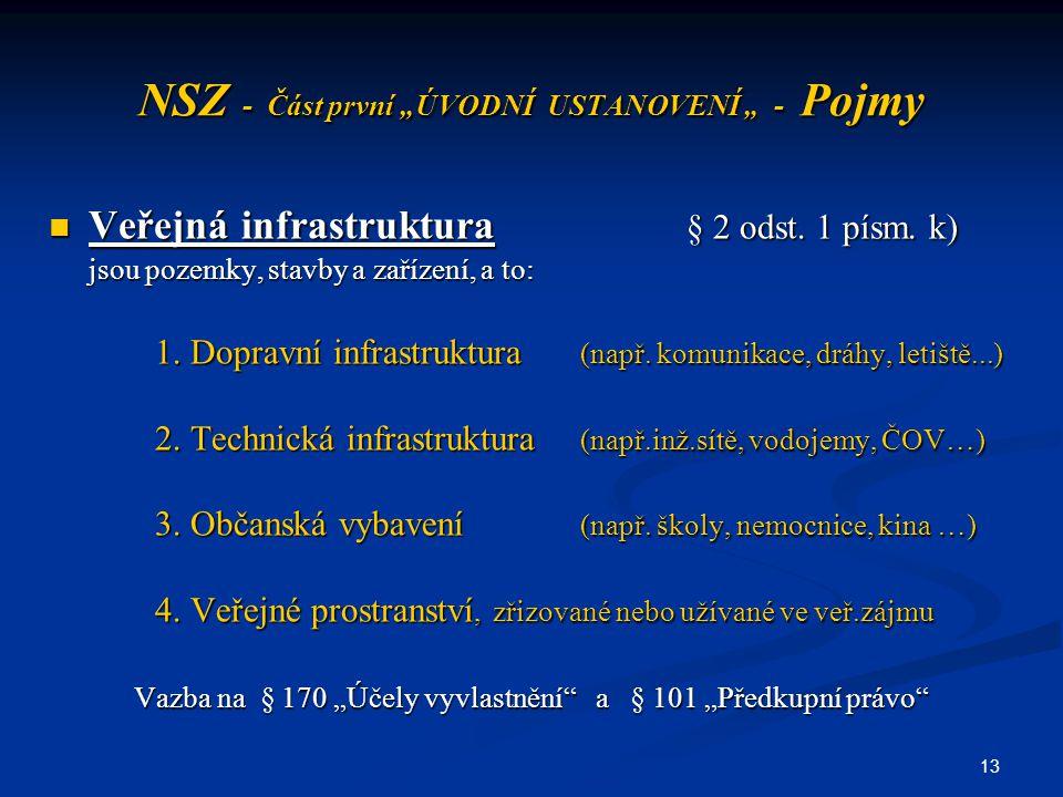 """13 NSZ - Část první """"ÚVODNÍ USTANOVENÍ """" - Pojmy Veřejná infrastruktura § 2 odst. 1 písm. k) Veřejná infrastruktura § 2 odst. 1 písm. k) jsou pozemky,"""