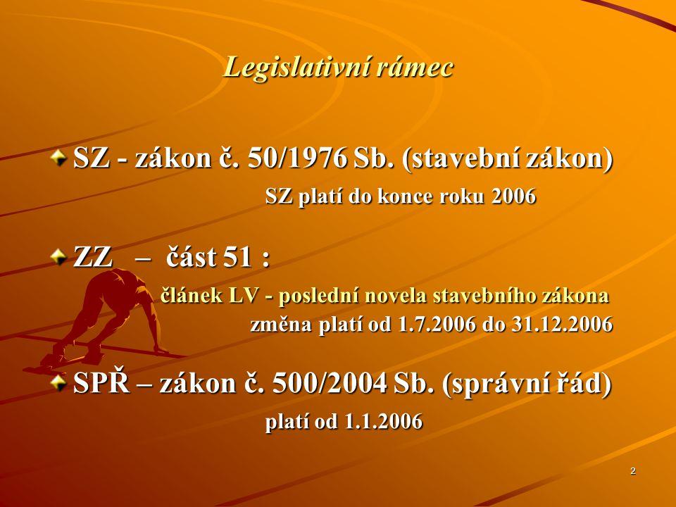2 Legislativní rámec SZ - zákon č. 50/1976 Sb. (stavební zákon) SZ platí do konce roku 2006 SZ platí do konce roku 2006 ZZ – část 51 : článek LV - pos