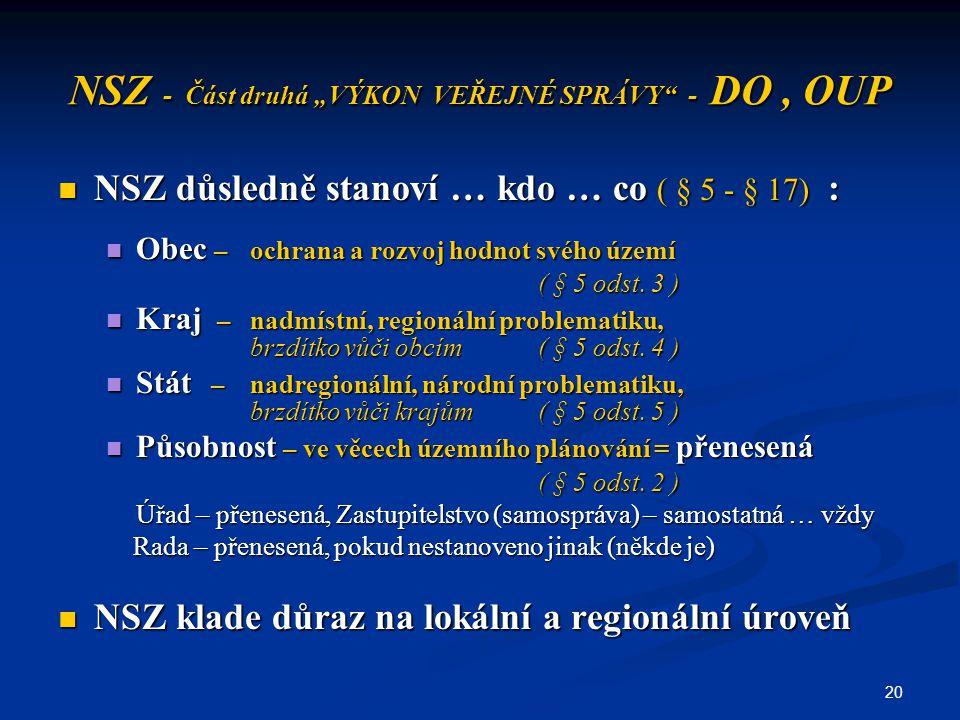 """20 NSZ - Část druhá """"VÝKON VEŘEJNÉ SPRÁVY"""" - DO, OUP NSZ důsledně stanoví … kdo … co ( § 5 - § 17) : NSZ důsledně stanoví … kdo … co ( § 5 - § 17) : O"""