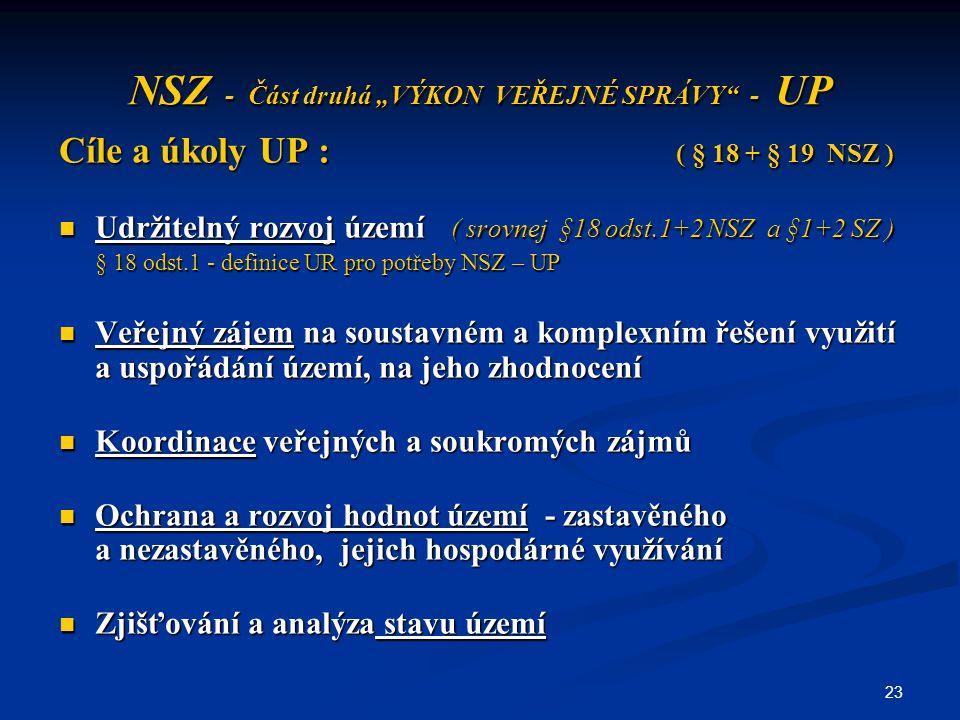 """23 NSZ - Část druhá """"VÝKON VEŘEJNÉ SPRÁVY"""" - UP Cíle a úkoly UP : ( § 18 + § 19 NSZ ) Udržitelný rozvoj území ( srovnej §18 odst.1+2 NSZ a §1+2 SZ ) U"""