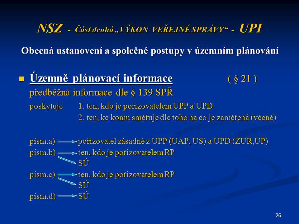 """26 NSZ - Část druhá """"VÝKON VEŘEJNÉ SPRÁVY"""" - UPI Obecná ustanovení a společné postupy v územním plánování Územně plánovací informace ( § 21 ) Územně p"""