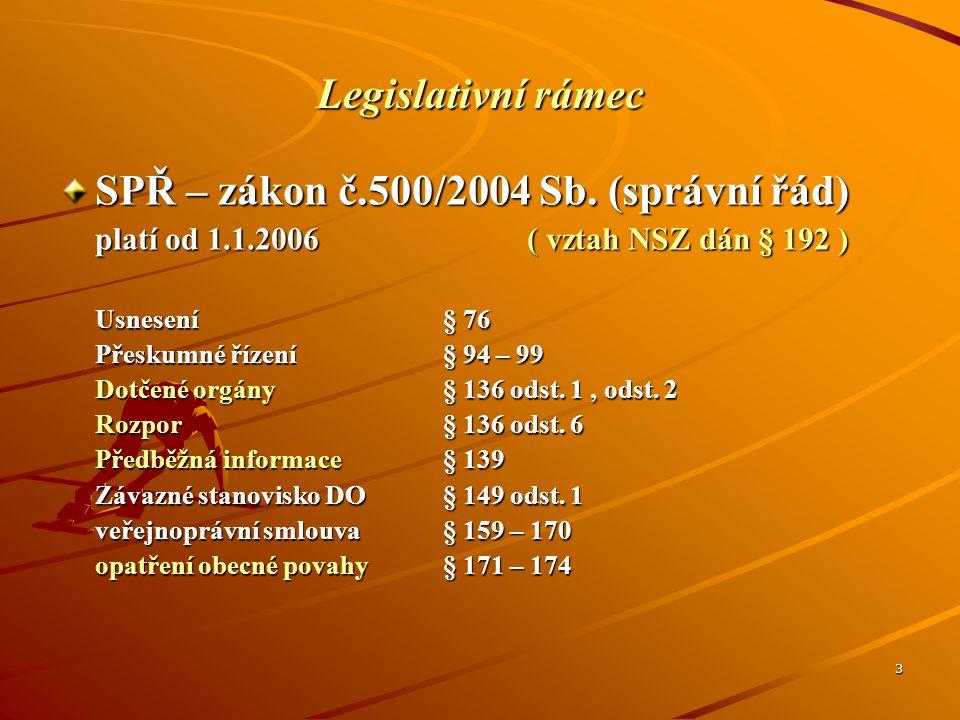 3 Legislativní rámec SPŘ – zákon č.500/2004 Sb. (správní řád) platí od 1.1.2006 ( vztah NSZ dán § 192 ) Usnesení§ 76 Přeskumné řízení§ 94 – 99 Dotčené