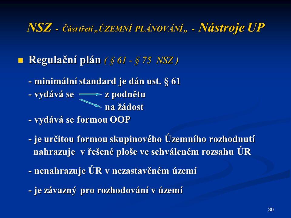 """30 NSZ - Část třetí """"ÚZEMNÍ PLÁNOVÁNÍ """" - Nástroje UP Regulační plán ( § 61 - § 75 NSZ ) Regulační plán ( § 61 - § 75 NSZ ) - minimální standard je dá"""