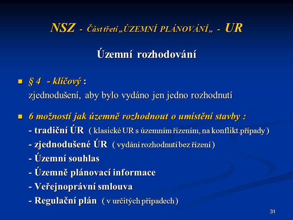 """31 NSZ - Část třetí """"ÚZEMNÍ PLÁNOVÁNÍ """" - UR Územní rozhodování § 4- klíčový : § 4- klíčový : zjednodušení, aby bylo vydáno jen jedno rozhodnutí 6 mož"""
