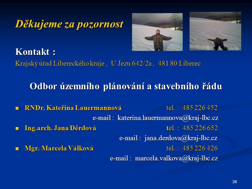 34 Děkujeme za pozornost Kontakt : Krajský úřad Libereckého kraje, U Jezu 642/2a, 481 80 Liberec Odbor územního plánování a stavebního řádu RNDr. Kate