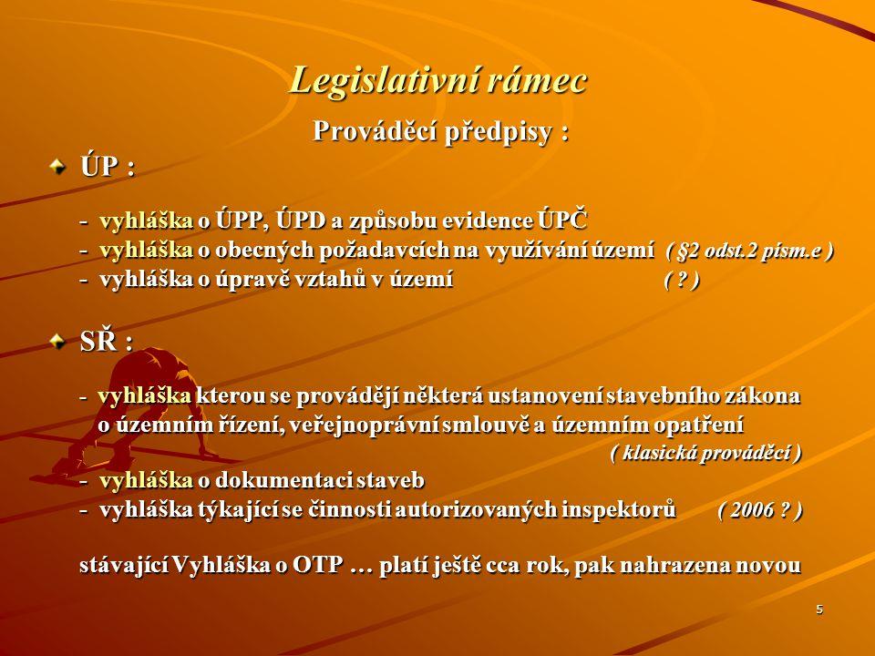 5 Legislativní rámec Prováděcí předpisy : ÚP : - vyhláška o ÚPP, ÚPD a způsobu evidence ÚPČ - vyhláška o obecných požadavcích na využívání území ( §2