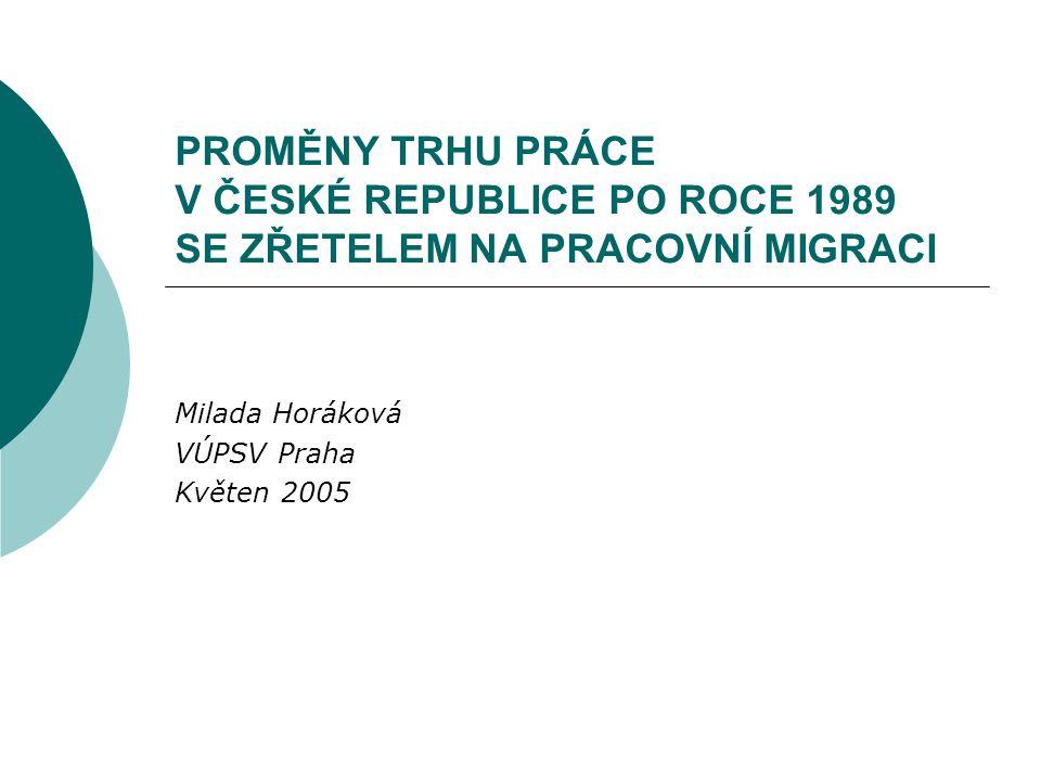 PROMĚNY TRHU PRÁCE V ČESKÉ REPUBLICE PO ROCE 1989 SE ZŘETELEM NA PRACOVNÍ MIGRACI Milada Horáková VÚPSV Praha Květen 2005