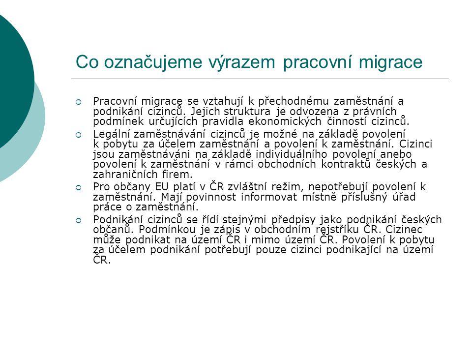 Co označujeme výrazem pracovní migrace  Pracovní migrace se vztahují k přechodnému zaměstnání a podnikání cizinců. Jejich struktura je odvozena z prá