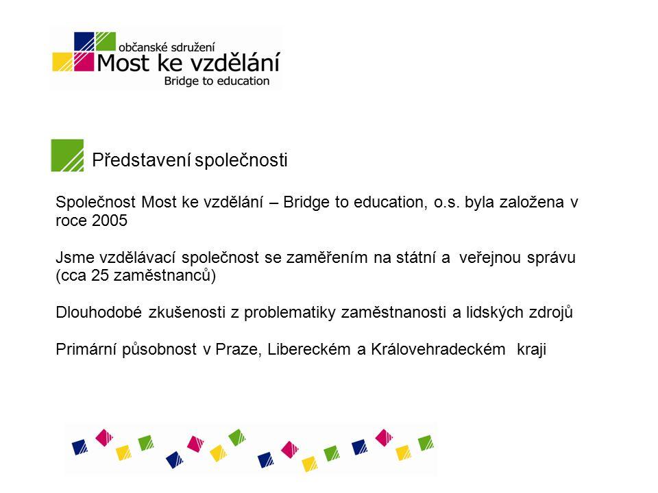 Představení společnosti Společnost Most ke vzdělání – Bridge to education, o.s. byla založena v roce 2005 Jsme vzdělávací společnost se zaměřením na s