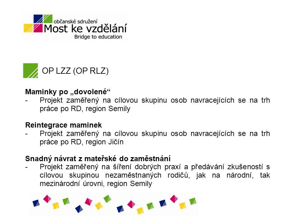"""OP LZZ (OP RLZ) Maminky po """"dovolené"""" - Projekt zaměřený na cílovou skupinu osob navracejících se na trh práce po RD, region Semily Reintegrace mamine"""