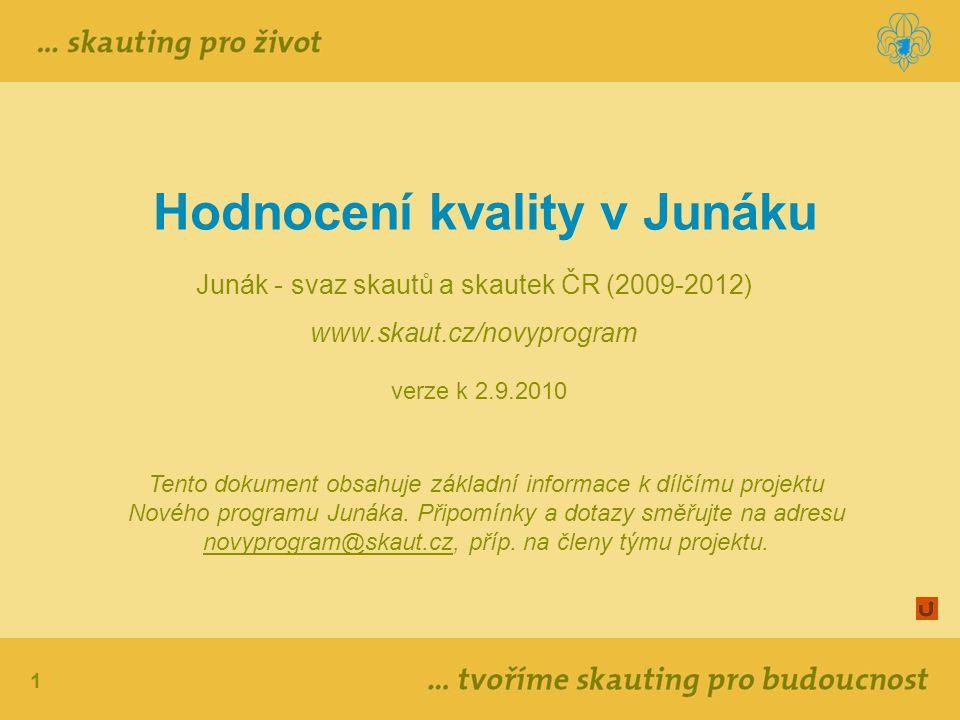 1 Hodnocení kvality v Junáku Junák - svaz skautů a skautek ČR (2009-2012) www.skaut.cz/novyprogram verze k 2.9.2010 1 Tento dokument obsahuje základní