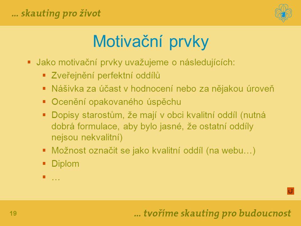 19 Motivační prvky  Jako motivační prvky uvažujeme o následujících:  Zveřejnění perfektní oddílů  Nášivka za účast v hodnocení nebo za nějakou úrov