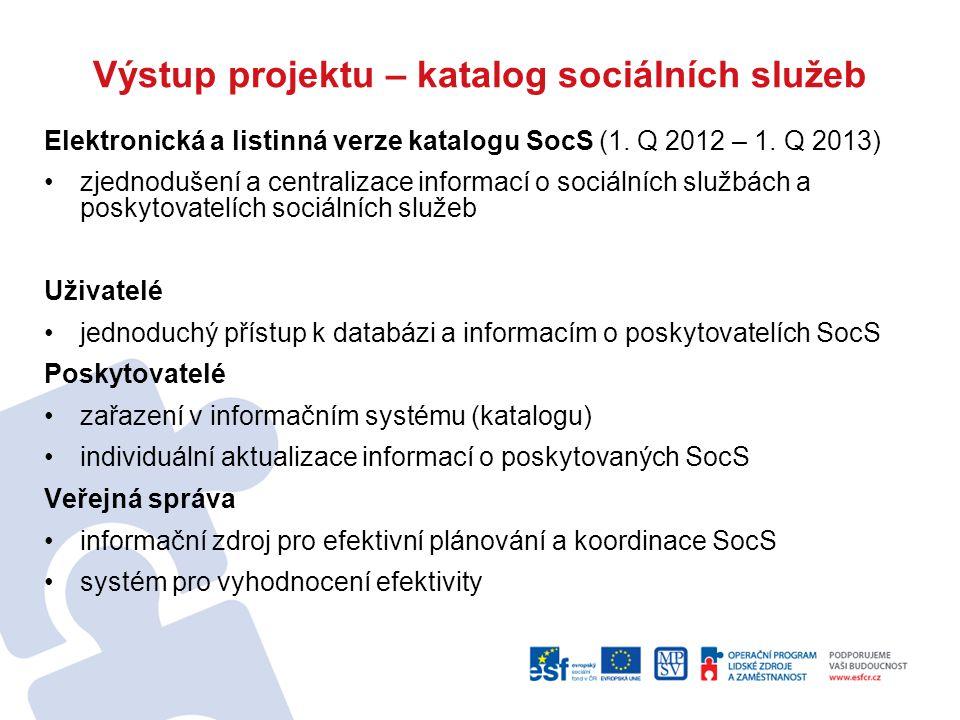 Výstup projektu – katalog sociálních služeb Elektronická a listinná verze katalogu SocS (1.