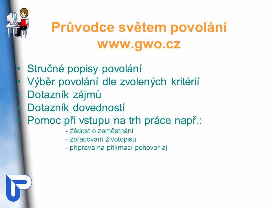 Průvodce světem povolání www.gwo.cz Stručné popisy povolání Výběr povolání dle zvolených kritérií Dotazník zájmů Dotazník dovedností Pomoc při vstupu